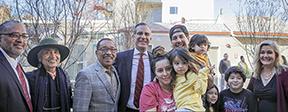 LA Mayor Eric Garcetti at opening of 88th & Vermont